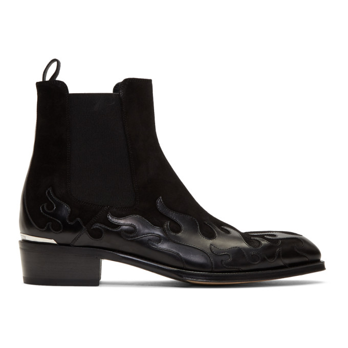 Alexander Mcqueen 'Flame' Patchwork Leather And Suede Chelsea Boots In 1069