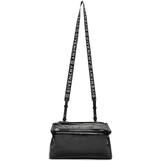 Givenchy Pandora Mini Fabric Satchel Bag With Logo Strap In 001 Black