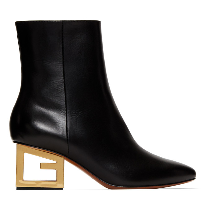 Givenchy Leather Pointed Ankle Booties With Logo Golden Heel In 001 Black