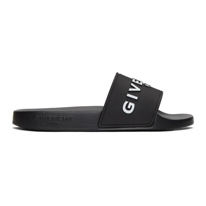 Givenchy Logo Embroidered Pool Slides - 黑色 In Black