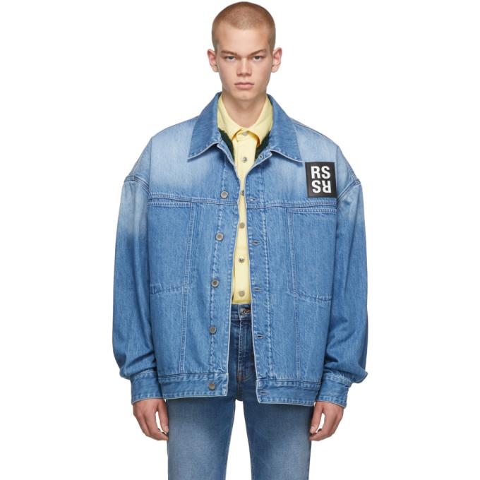 Raf Simons Faux Fur Lining Denim Jacket In 00043 Navy