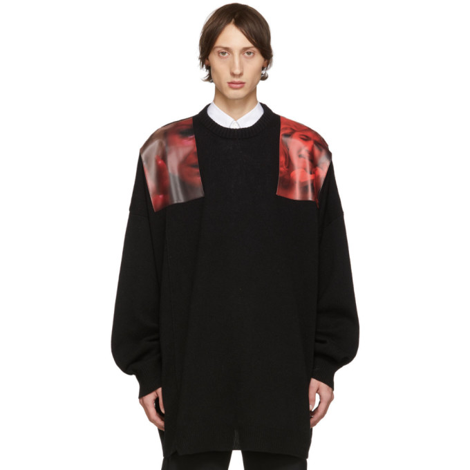 Raf Simons Oversized Photographic Shoulder Patch Sweater In Black In 09930 Red