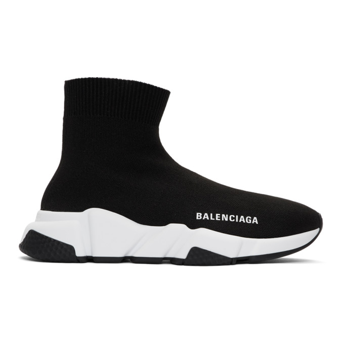 Balenciaga Speed Stretch-Knit High-Top Sneakers In 1000 Black