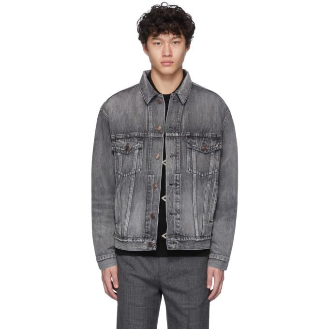 Balenciaga Washed Black Denim Jacket With Back Logo In 1450Drtgry