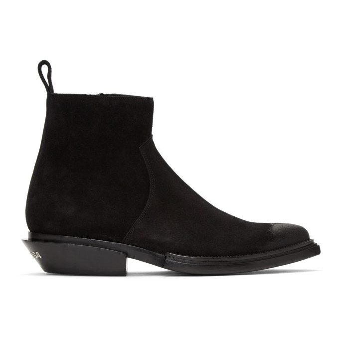 Balenciaga Santiag High Heels Ankle Boots In Black Suede In 1000 Black