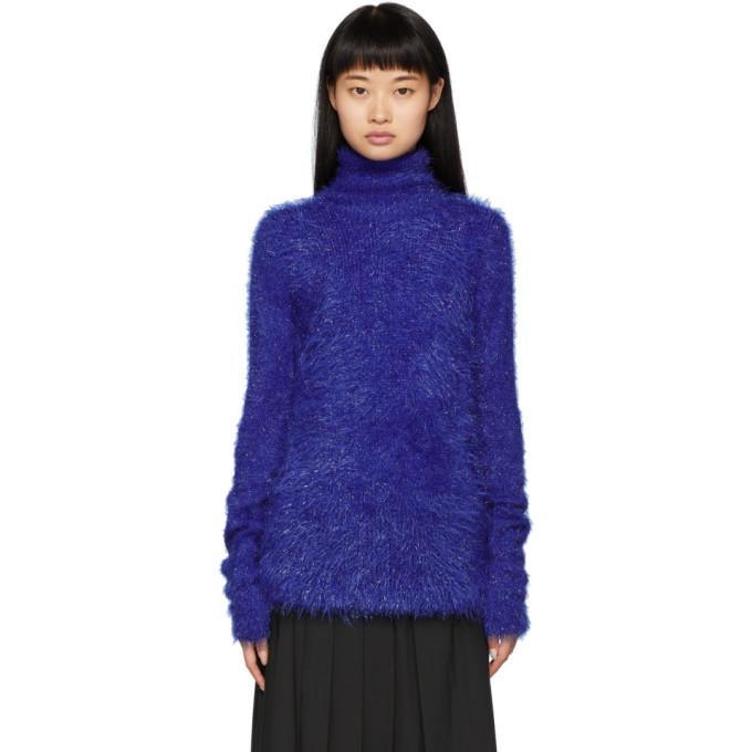 Juun.j Blue Fuzzy Knit Turtleneck