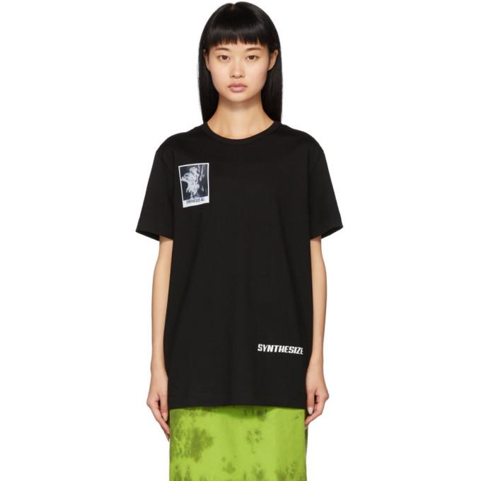 Juun.j Black Flower Print Synthesize T-shirt