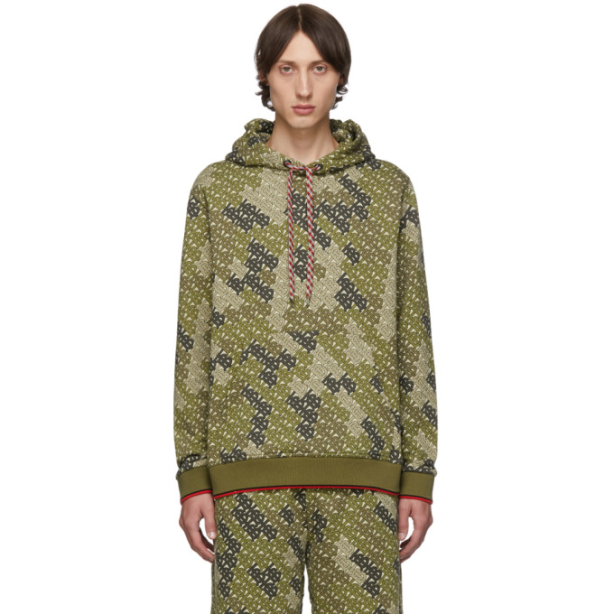 Burberry Casper Tb-Print Cotton-Blend Hooded Sweatshirt In Khaki Green