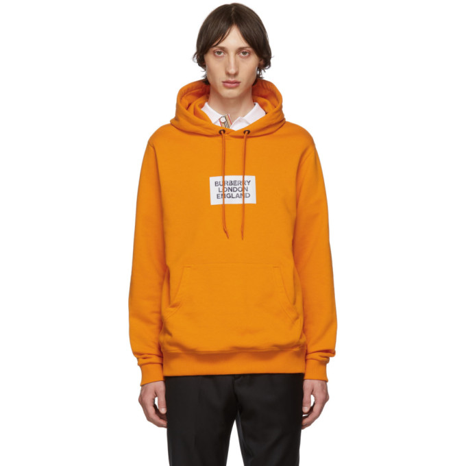 Burberry Felpa Farrows In Cotone Con Cappuccio E Logo In Orange