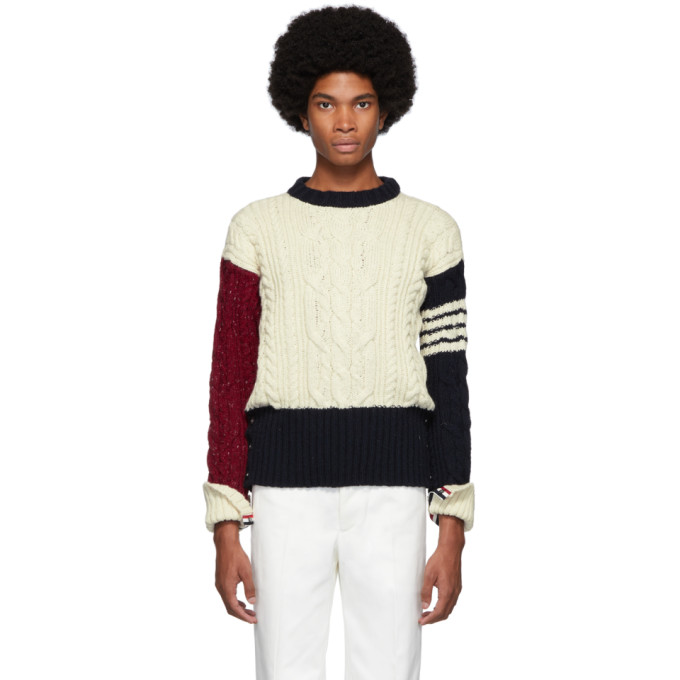 Thom Browne Multicolor Men's Tricolor Cable Knit Sweater In 960 Rwbwht