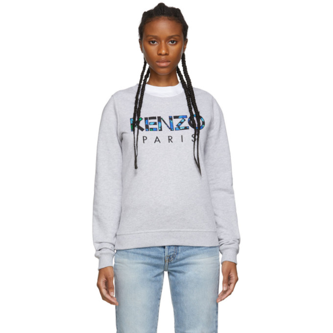 Kenzo Logo Cotton Sweater In 93 Pale Gre