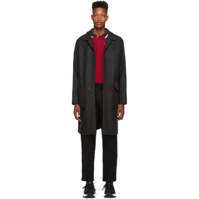 Kenzo Single Breasted Coat In 97 Drkgry