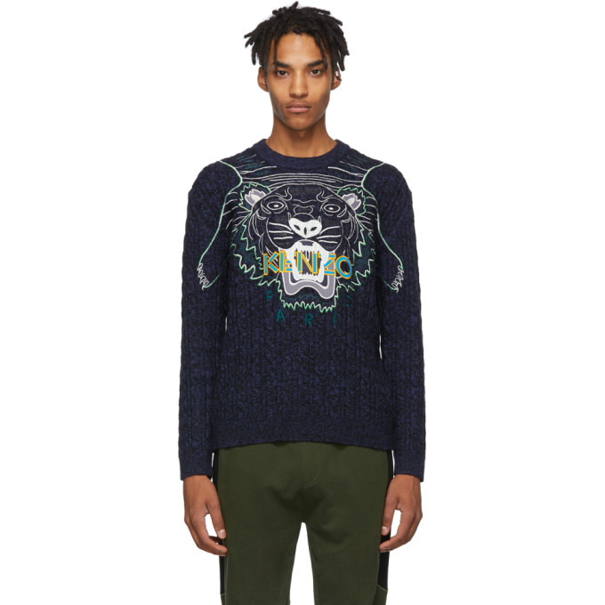 Kenzo Men's Claw Tiger Graphic Sweater In 76 Navy