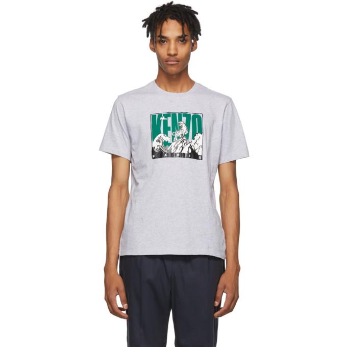 Kenzo Tiger Logo Wave Print T-shirt In 94 Prlgrey