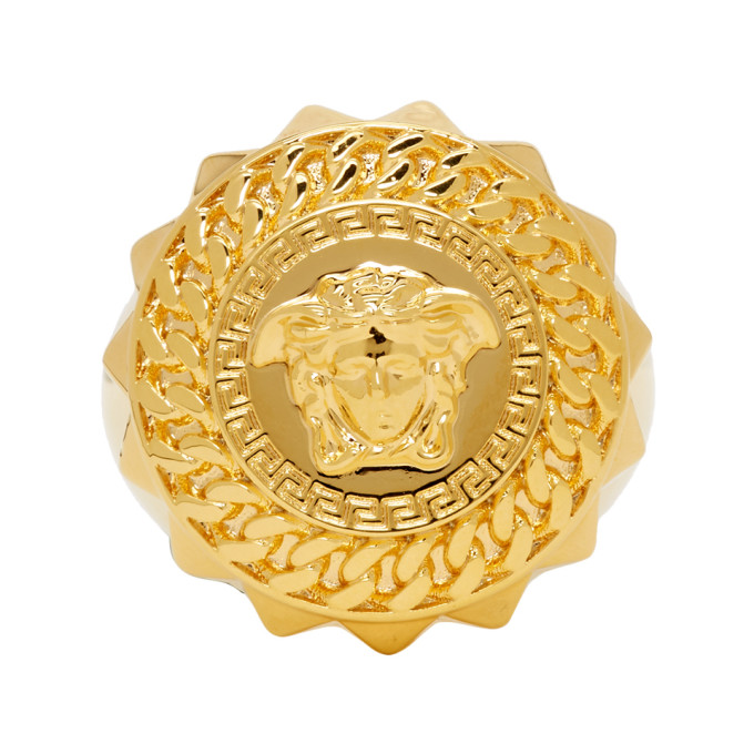 Versace Gold Crystal Medusa Earrings In D00H Gold