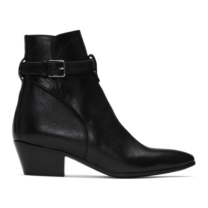 Saint Laurent West Jodhpur Boots In Smooth Leather In 1000 Black