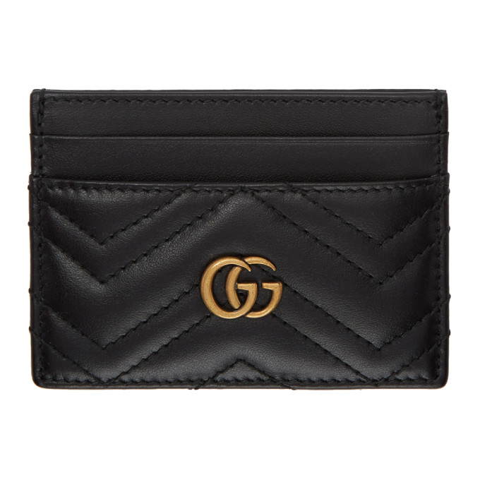 Gucci Gg Marmont Quilted Leather Card Holder In 1000 Black