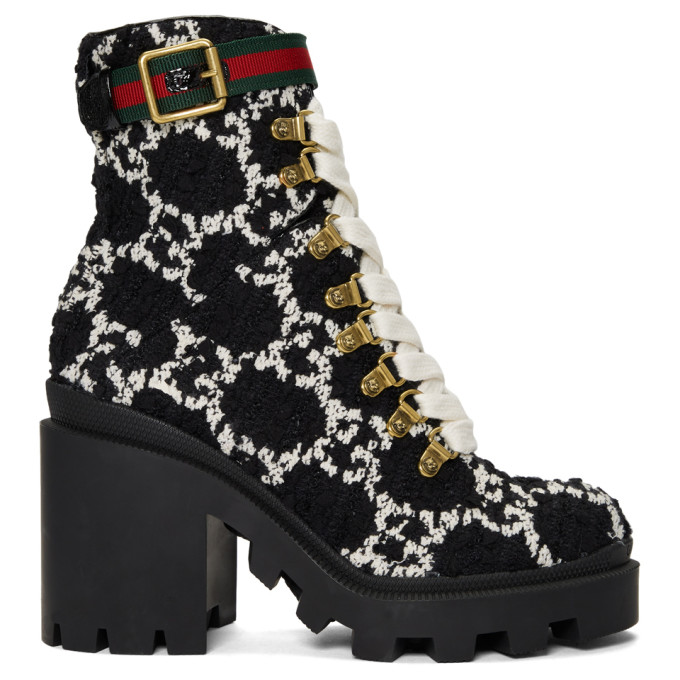 Gucci Lace Up Ankle Boots Gg Tweed Logo Black White