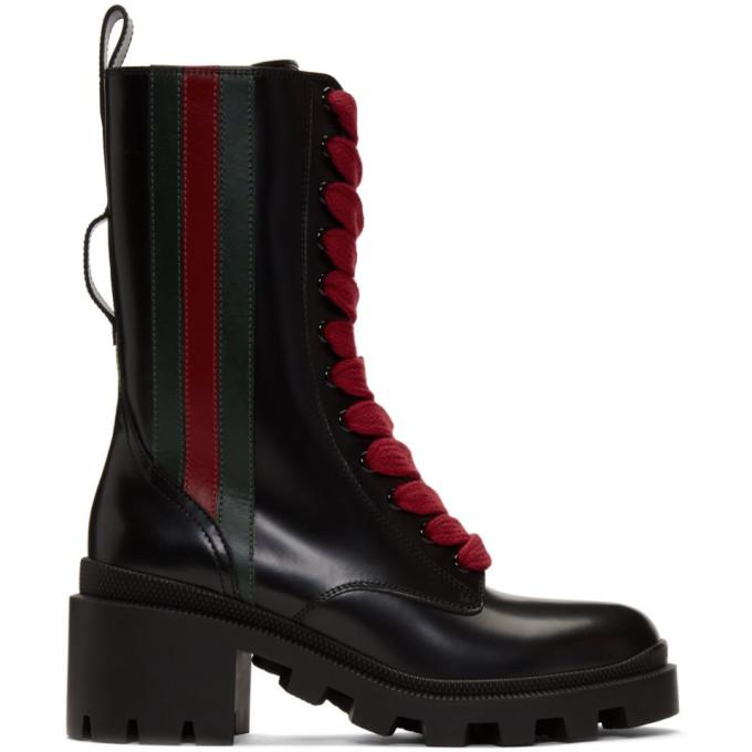Gucci Bikerstiefel Trip Chelsea  Kalbsleder Web-Detail Schwarz In Black