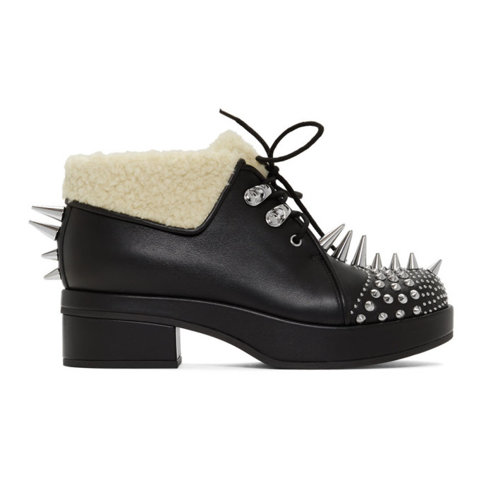 Gucci Victor Studded Faux Shearling Lined Bootie In Black