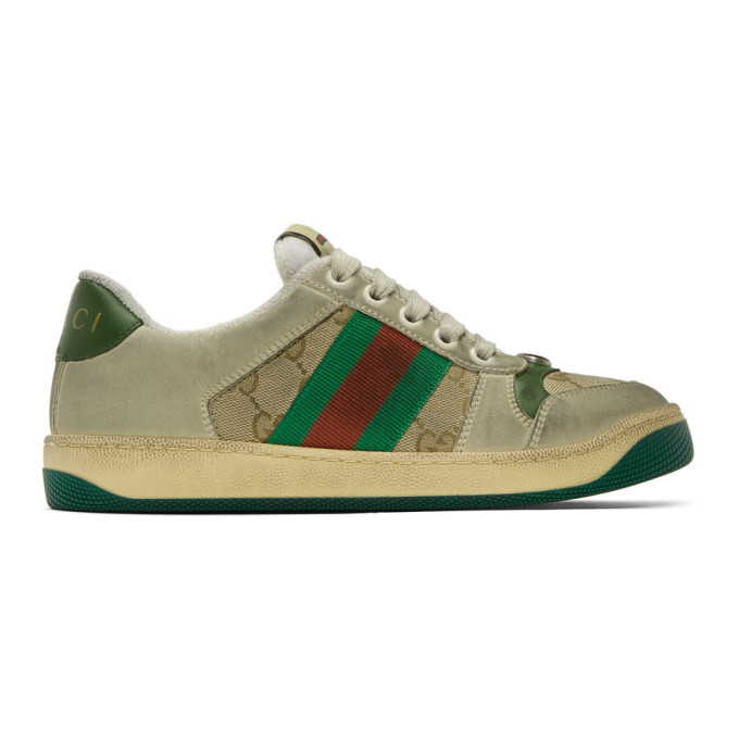 Gucci Screener Embellished Canvas-trimmed Distressed Leather Sneakers In Green