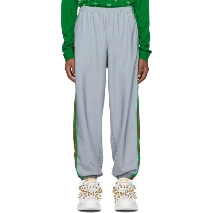 Gucci Silver Men's Reflective Side Stripe Track Pants In 1300 Silver