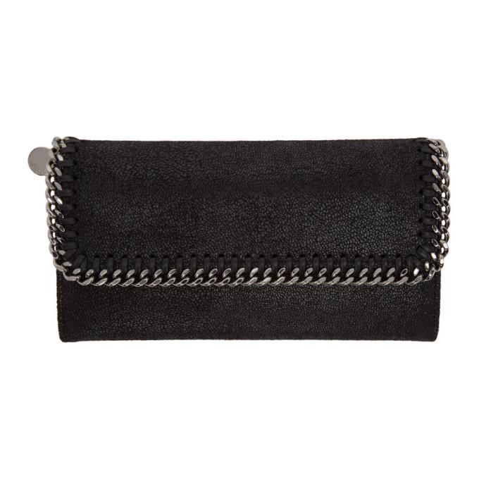 Stella Mccartney Chain Detailed Continental Wallet In 1000 Black