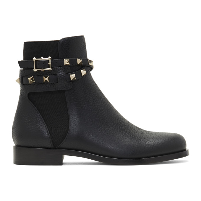 Valentino Rockstud Grained Leather Ankle Boots In Black