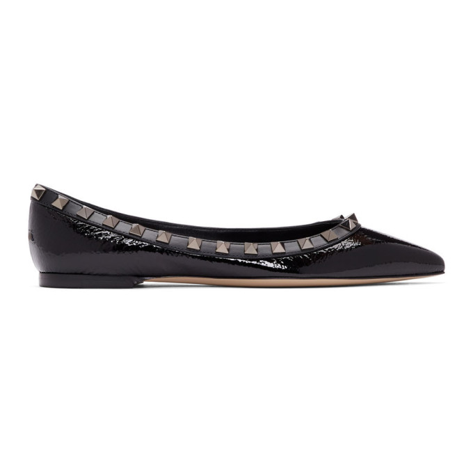 Valentino Rockstud Patent-Leather Pointed Toe Flats In Black