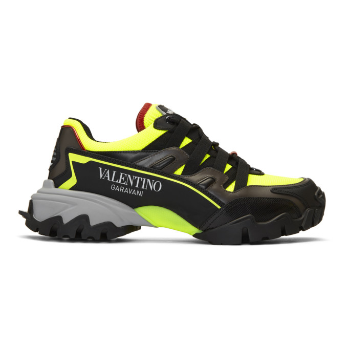 Valentino Garavani Climbers Mesh, Leather And Rubber Sneakers In Kam Nero Ne