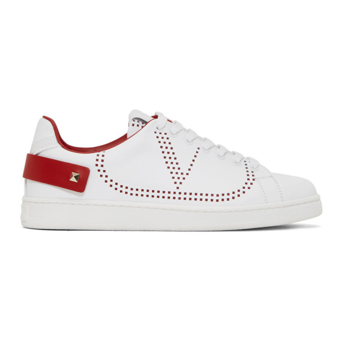 Valentino Backnet Sneakers In White And Red With Perforated Logo In Ds5 Multicoloured