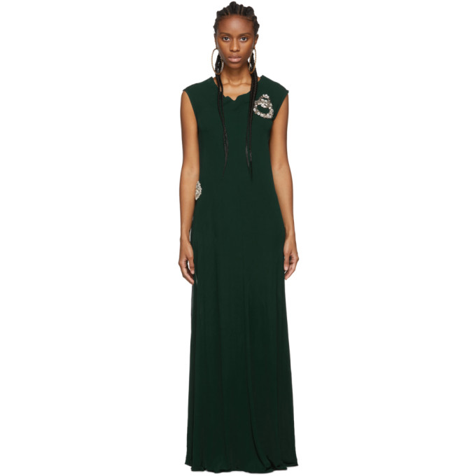 Jw Anderson Layered & Draped Fluid Jersey Dress Top In Forest Green