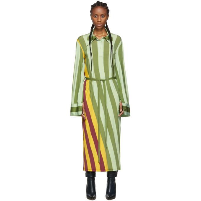 Jw Anderson Warped Stripe Print Polo Dress In 488 Malbec