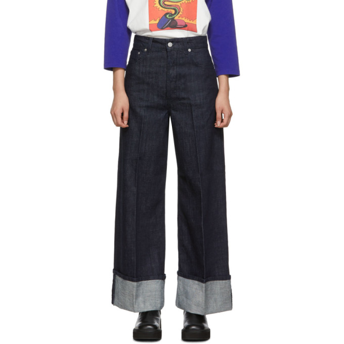 Jw Anderson Cotton Denim Jeans W/ Turn-up Cuffs In Blue