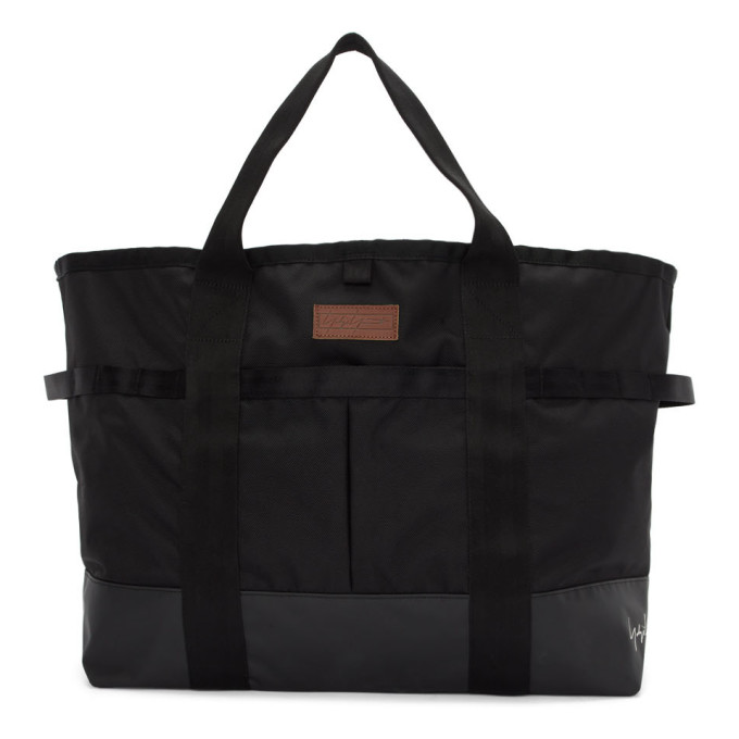 Yohji Yamamoto Logo Embroidered Nylon Tote Bag In Black