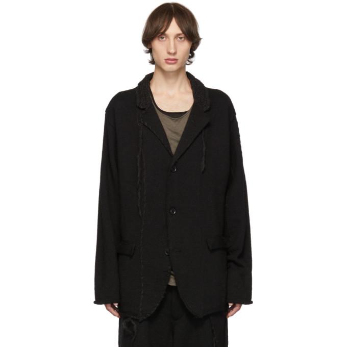 Yohji Yamamoto Distressed Stitch Blazer In Black