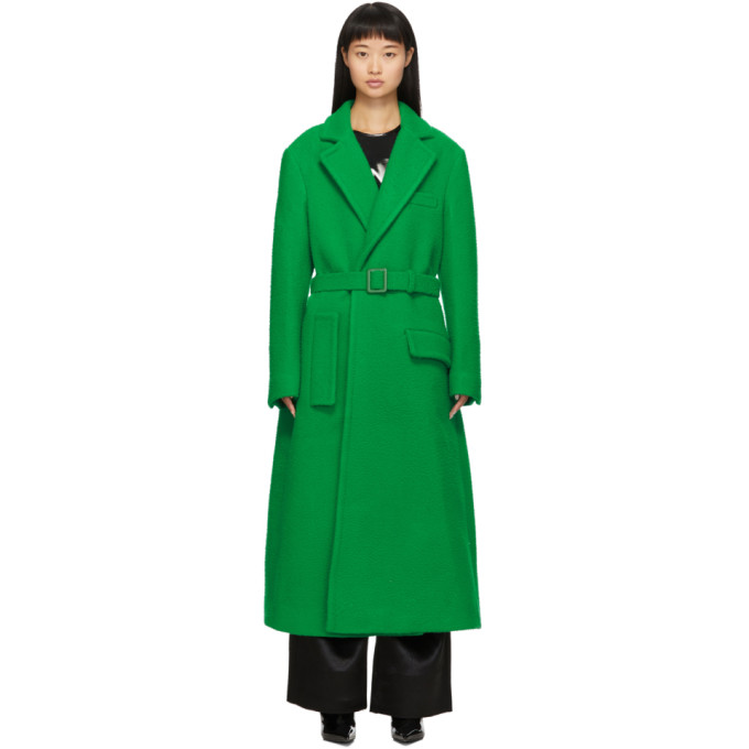Off-White Coats OFF-WHITE GREEN CURLY TWO-LAYER BELT COAT