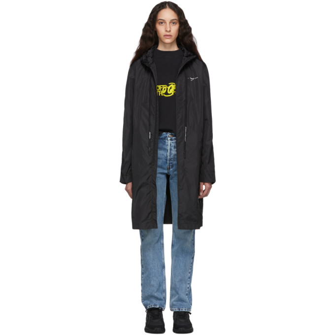 Off-White Coats OFF-WHITE BLACK AND SILVER UNFINISHED RAINCOAT