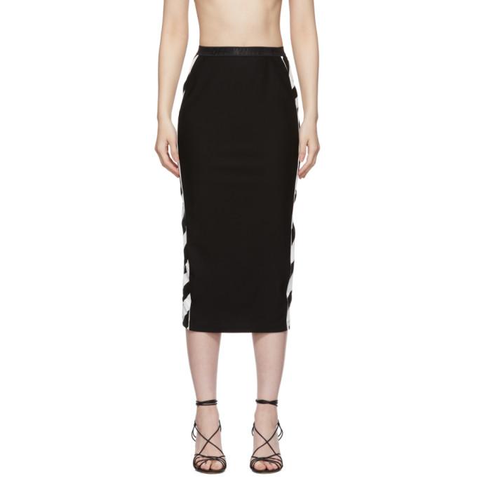 Off-White Diagonal-Striped Athletic Midi Skirt In 1001 Black White