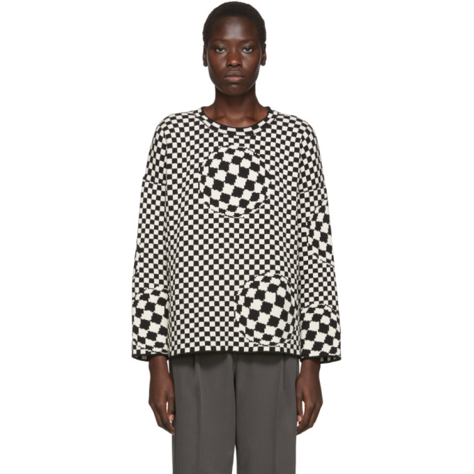 Off-White Checked Intarsia Knit Jumper In Black
