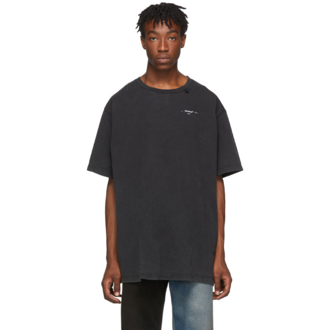 Off-White Diagonal Arrows Oversized Cotton-Jersey T-Shirt In 1001 Blkwht