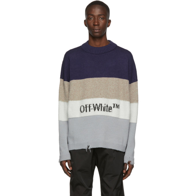 Off-White Distressed Striped Wool-Blend Sweater In Blu Blk