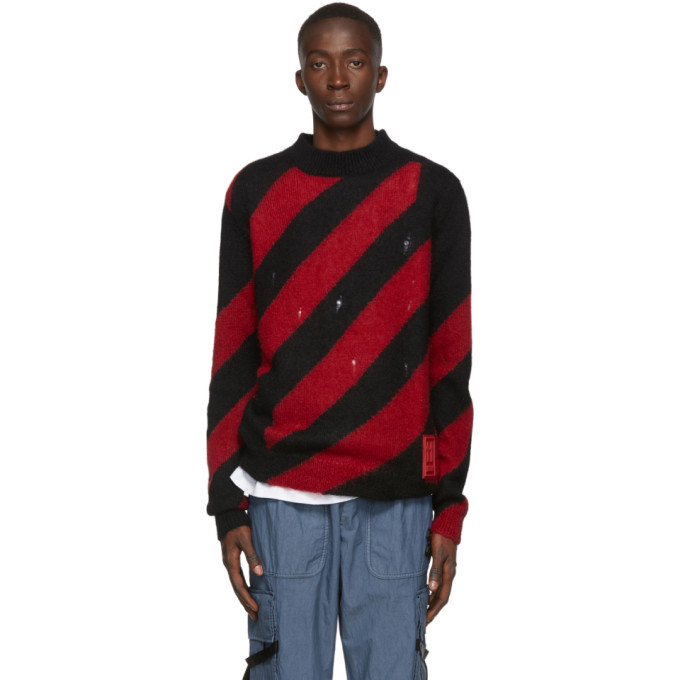 Off-White Distressed Striped Mohair-Blend Sweater In Red No Col