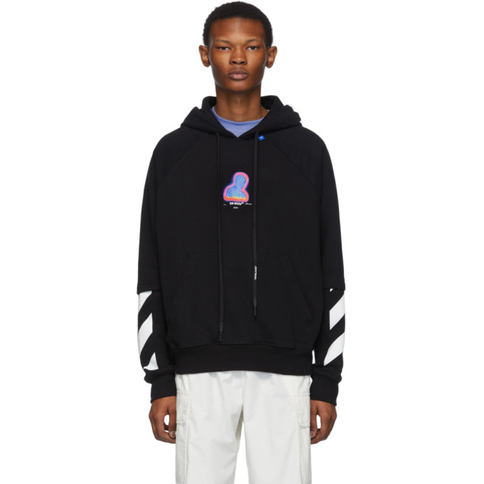 Off-white Hooded Thermo Men Sweatshirt In Black In Blk Multi