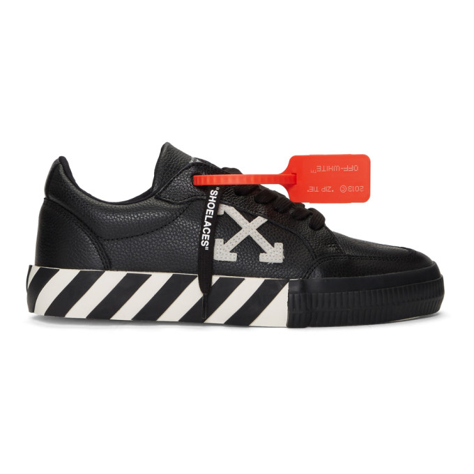 Off-White Suede-Trimmed Full-Grain Leather Sneakers In 1000 Black