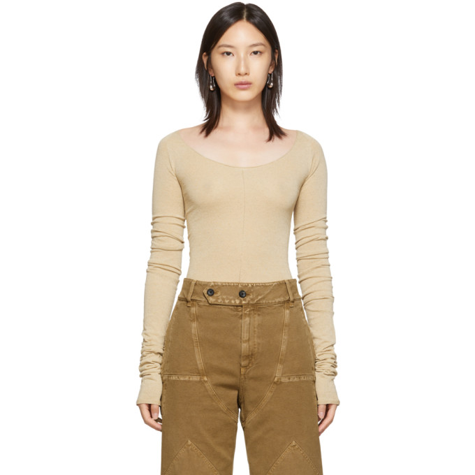 Lemaire Second Skin Scoop-Neck Crepe-Knit Sweater In 245 Ginger