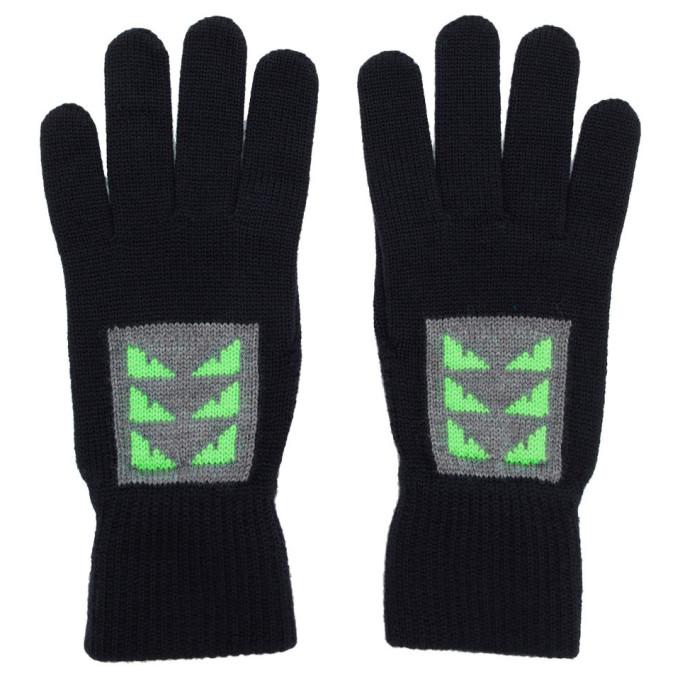 Fendi Navy Wool Little Bag Bugs Gloves In F0Yh8 Blue