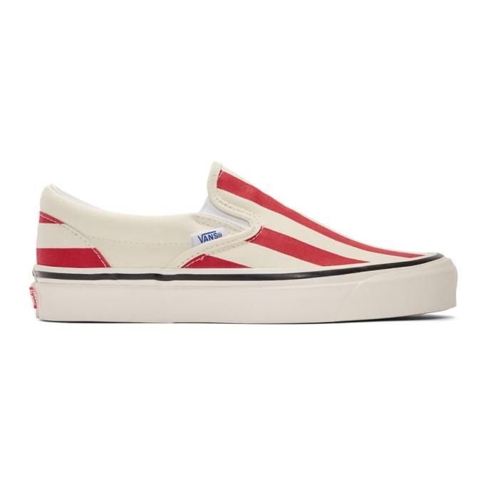 Vans Classic Slip-On 98 Dx (Canvas) - White/Og Red/Big Stripes In Og Red Wht