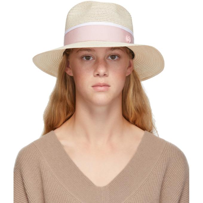 Maison Michel Hats MAISON MICHEL BEIGE AND PINK STRAW HENRIETTA HAT