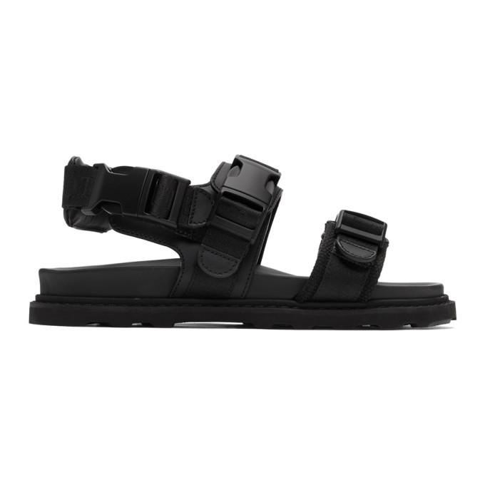 Bottega Veneta Webbing-Trimmed Leather And Wool Sandals In 1000-Black